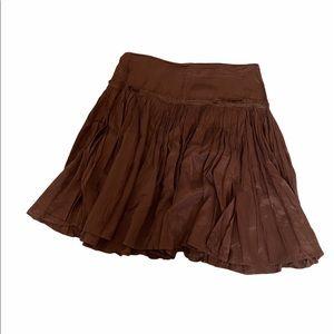 ZARA Chocolate Brown Sateen Pleated Peasant Skirt